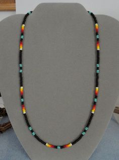 Turquoise   Black Beaded Mens, Womens Necklace ~ Native American Made