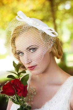 Organza Bridal Cocktail Hatbirdcage veil by RoseRedBridalDesigns, $75.00