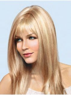 Straight Long With Bangs Blonde Discount Human Hair Wigs