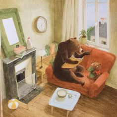 Baby Room Paintings, Funny Paintings, Love Bears All Things, Drawing Wallpaper, Bear Art, Illustrations And Posters, Children's Book Illustration, Animal Drawings, Art Images