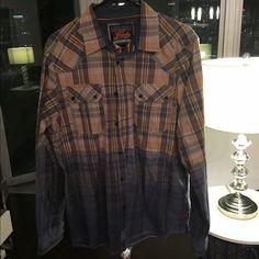 FRESH orange and blue colorfade plaid button down Orange and blue colorfade plaid long sleeve button down, contemporary fit, round hem, 100% cotton Fresh Tops Button Down Shirts