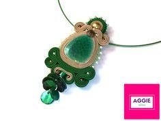 Green beige soutache pendant