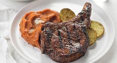 Cinnamon-Jerk Pork Chops with Whipped Barbados Sweet Potatoes