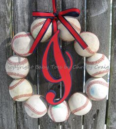The Original Cleveland Indians Baseball Wreath with Script Style Letter on Etsy, $59.00