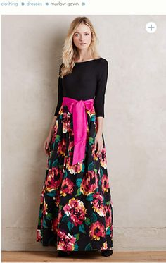 Pretty floral graphic on the full skirt. Would be nice for a wedding or spring gala.