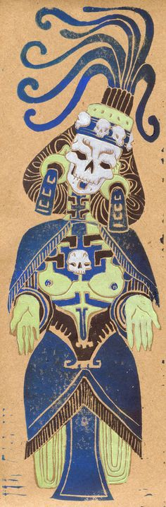 "Depiction of Mectecacihuatl - ""Lady of death"" - Aztec goddess"