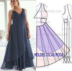 Molde do vestido com bolas, para poder fazer a transformação do molde base no molde do vestido que proponho faça a leitura correta do desenho.