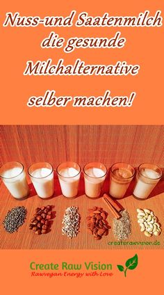 Nuss-und Saatenmilch - die gesunde Milchalternative selber machen! DIY nut- and seedmilk - the healthy milk option  #milch #milk #plantmilk #Pflanzenmilch #nussmilch #mandelmilch #hanfmilch #saatenmilch #nutmilk #almondmilk #hempmilk #seedmilk #vegan #rohkost #rawvegan #rawfood #rohvegan