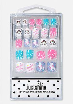 Just Shine Glitter Unicorn Press-On Nails - Ongles 02 Fake Nails For Kids, Nail Art For Girls, Unicorn Makeup, Unicorn Nails, Justice Makeup, Justice Accessories, Unicorn Fashion, Black Acrylic Nails, Christmas Manicure