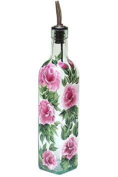 Hand Painted Glass Bottle Olive Oil Dispenser Pink Roses Green Leaves Vines Hand Painted Glassware Hand Painted Oil Vinegar Soap Dispensers by HelensGiftStore on Etsy https://www.etsy.com/listing/171991176/hand-painted-glass-bottle-olive-oil