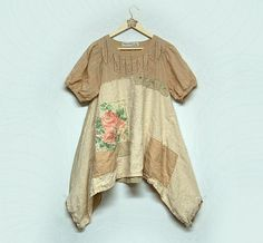 Large  Boho Shabby Chic Tunic Patchwork Cotton and Linen Top Eco Friendly Mori Girl Upcycled Women's Clothing by Primitive Fringe by PrimitiveFringe