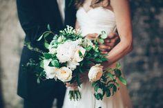 Whimsical green + white garden bouquet