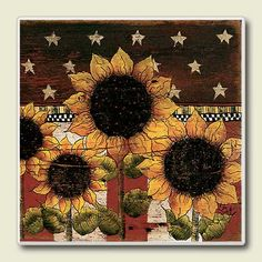 Patriotic Rooster | ... Decor Accessories - Country Primitive Patriotic Sunflower Coasters