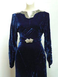 art deco blue beaded velvet gown / vintage 1930s by secreteyesonly, $325.00
