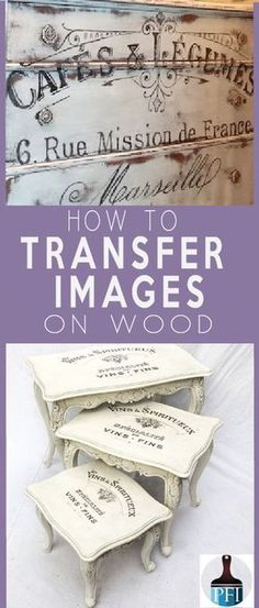 There are several ways to transfer images on wood. This one stop transfer guide covers all techniques with pros and cons for your DIY project. - 5 Ways to Transfer Images on Wood and Glass - Painted Furniture Ideas Diy Wood Projects, Furniture Projects, Furniture Makeover, Wood Crafts, Woodworking Projects, Projects To Try, Dresser Makeovers, Woodworking Classes, Fine Woodworking