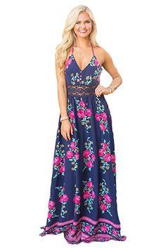 bdbcb791a2 Women s girls Navy Rosy Floral Print Crochet Detail Sexy Long Boho Maxi Dress  Summer