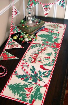 Into Vintage: 'Tis the Season - vintage linens repurposed into a table runner