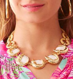 Lilly Pulitzer Everglades Statement Necklace in Gold Metallic- love the alligators