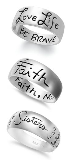 Unwritten Script Band Rings ♥ #love #life #sisters