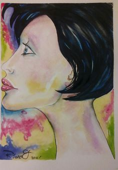 Profile of a woman. Watercolour on Gvarro. 11 in X 15 in. Rivera Fernández 2016