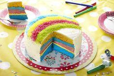 Regenboog taart                              -                                  Daar word je toch vrolijk van: een prachtige Regenboogtaart en helemaal zelf gemaakt. Bekijk hoe je deze Regenboogtaart stap voor stap maakt.