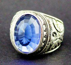 Sterling Silver 925 men ring,blue topaz lab stone