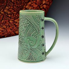 Big Tea Mug with Pasiley Pattern by Creativewithclay on Etsy, $48.00 cwcpinit