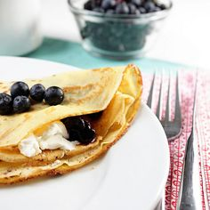 Blueberry and mascarpone crepes.  Good use of all the homemade mascarpone I'll be making!