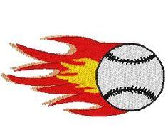 flaming baseball 4x4 sized
