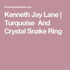 Kenneth Jay Lane | Turquoise  And Crystal Snake Ring