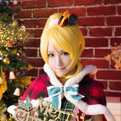 Love Live ! LoveLive! Ayase Eli Cosplay Wigs Yellow Ponytail Hair Straight Medium Anime Cos Wig Pluto P348D