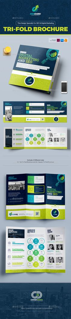 Tri-Fold Brochure Template for SEO (Search Engine Optimization) & Digital Marketing Agency / Company