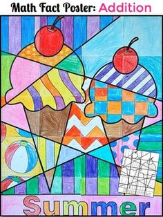 Summer Math Activity: Summer-themed ADDITION math facts collaboration poster. This project is so much fun because your class will collaborate on a large, colorful poster for their classroom or school while they practice their math facts. Show your students the finished product before they begin, or wait until the end and let them be surprised and amazed at what they created as a group!