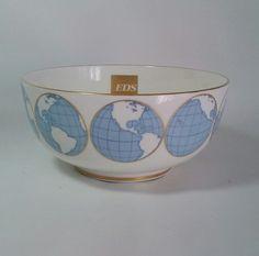 GLOBE BOWL BOEHM CHINA GOLD TRIM 1990 EDS  ELECTRONIC DATA SYSTEMS #BOEHMEDSGLOBALBOWL