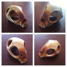 Carved cat skull in yew #woodwosecarving #woodcarving #cat #skull