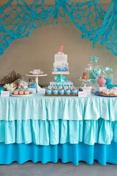 Ombre ruffle tablecloth pink or blue by vintagesewandso on Etsy, $220.00