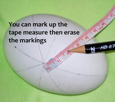 I work on goose, turkey and chicken eggs. Measuring is important and I do enjoy measuring out a design, motif, or pattern. I exclusively use a narrow vinyl tape measure.