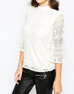 Image 3 of Warehouse High Neck Flute Sleeve Lace Top