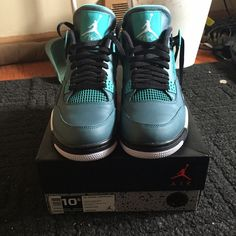 AIR JORDAN 4 RETRO 30TH  Brand: Jordan  size: 10.5 in men  condition: 10/10 only worn once  colors: teal, white, black  CODE INSIDE BOX  reasonable offers will be accepted  make an offer using the offer button !  Jordan Shoes Sneakers