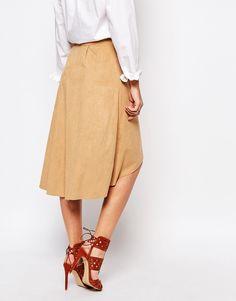 Image 2 ofSupertrash Super Full Skirt in Faux Suede