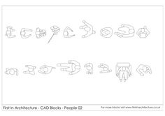 2D wireframe cad blocks