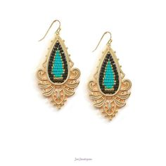 Just Jewelry Aimless-Black, turquoise, and gold seed beads are intricately threaded in these striking statement earrings.-$22
