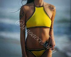 White Womens Swimwear Crochet Bikini Set Swimsuit by senoAccessory