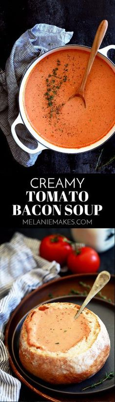 This ten ingredientCreamy Tomato Bacon Soup not only tastes amazing, but it also uses common ingredients already in your pantry and fridge. Diced onions, bacon and garlic take a swim in melted butter before being joined with diced tomatoes, chicken broth and herbs. An immersion blender makes quick work of making everything a near smooth consistency before it's all bathed in a shower of heavy cream.