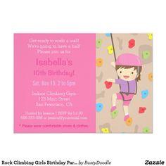 Rock Climbing Girls Birthday Party Invitations