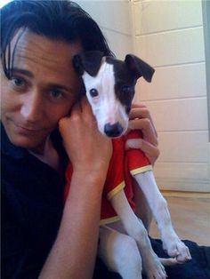 Puppy in a shirt with Tom Hiddleston <3