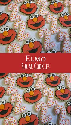 Sesame Street Elmo and Number Decorated Sugar Cookies Collection - Elmo Cookies, Birthday Party, Sesame Street Party, Number Cookies #affiliate