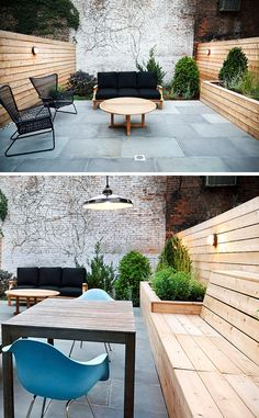 12 Ideas For Including Built-In Wood Planters In Your Outdoor Space // The light wood planter made from the same wood as the rest of the fence adds dimension to this patio. The knotty wood adds to the natural feel going on in the space. Backyard Seating, Outdoor Seating, Backyard Patio, Outdoor Spaces, Outdoor Living, Outdoor Decor, Patio Fence, Garden Fences, Outdoor Life