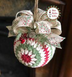 Large Crochet Ornament Kissing Ball Christmas Ornament   Etsy