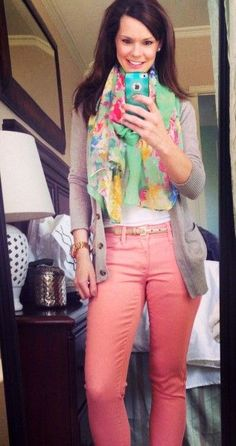 get your pretty on alison | Spring transition outfit - Boyfriend cardigan, floral scarf, t-shirt ...